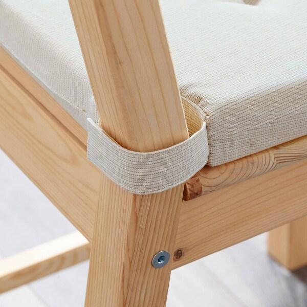 JUSTINA Podložka na stoličku, prírodná, 42/35x40x4 cm