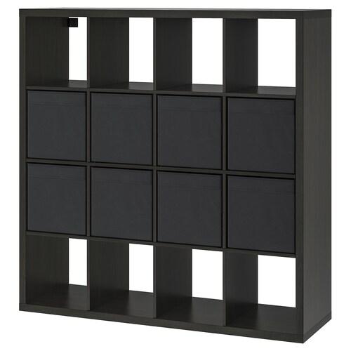 KALLAX policový diel s 8 vložkami čiernohnedá 147 cm 39 cm 147 cm 13 kg
