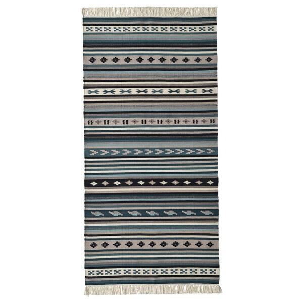 KATTRUP Koberec, hladko tkaný, vyrobené ručne/modrá, 75x150 cm
