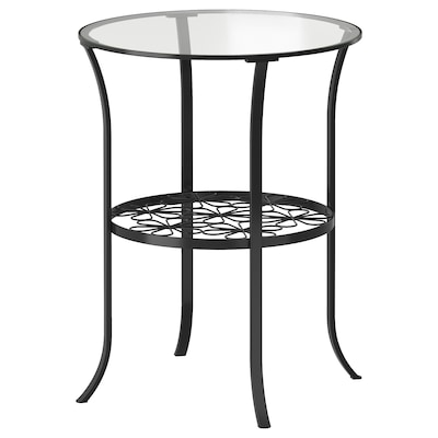 KLINGSBO Príručný stolík, čierna/číre sklo, 49x62 cm