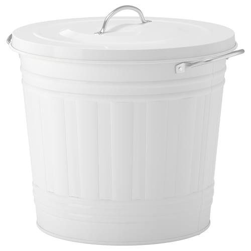 KNODD nádoba s vrchnákom biela 32 cm 34 cm 16 l