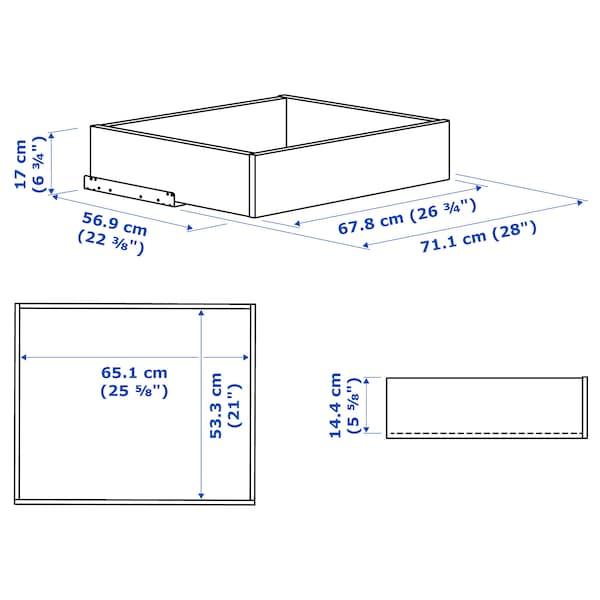KOMPLEMENT Zásuvka so skleneným čelom, biela, 75x58 cm