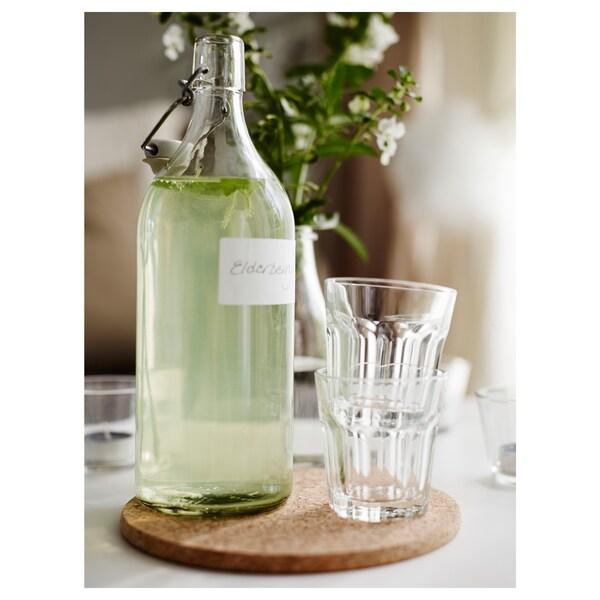 KORKEN Fľaša so zátkou, číre sklo, 1 l