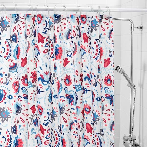 KRATTEN Sprchový záves, biela/viacfarebný, 180x200 cm