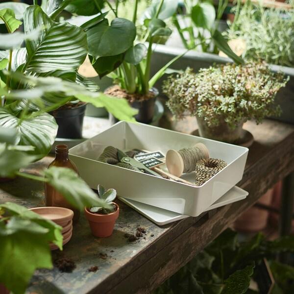 KUGGIS škatuľa s vrchnákom biela 26 cm 35 cm 8 cm