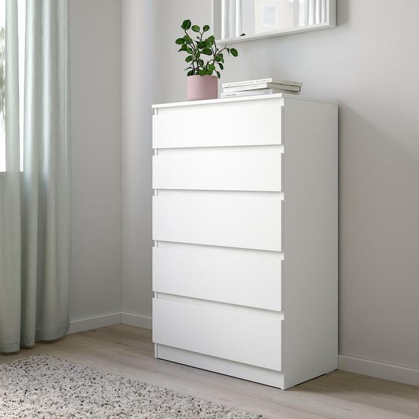 KULLEN Skrinka s 5 zásuvkami, biela, 70x112 cm