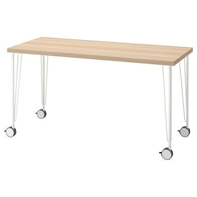 LAGKAPTEN / KRILLE Stôl, bielo morený dub vzor/biela, 140x60 cm