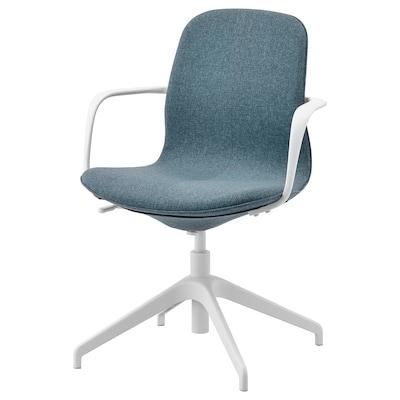 LÅNGFJÄLL kancelárska stolička s opierkami Gunnared modrá/biela 110 kg 67 cm 67 cm 92 cm 53 cm 41 cm 43 cm 53 cm