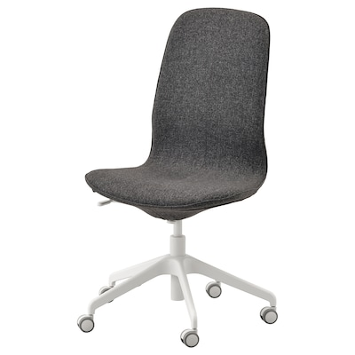 LÅNGFJÄLL Kancelárska stolička, Gunnared tmavosivá/biela