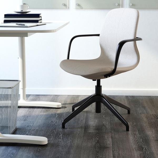 LÅNGFJÄLL Kancelárska stolička s opierkami, Gunnared béžová/čierna
