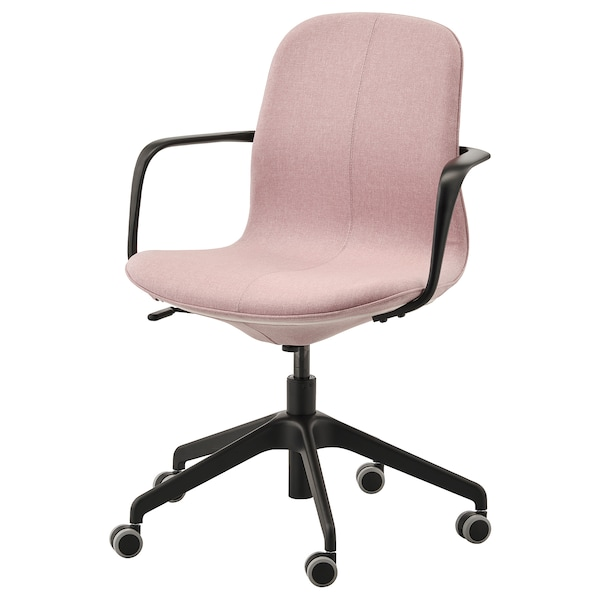LÅNGFJÄLL Kancelárska stolička s opierkami, Gunnared svetlohnedá s ružovou/čierna