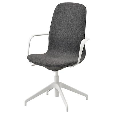 LÅNGFJÄLL Kancelárska stolička s opierkami, Gunnared tmavosivá/biela