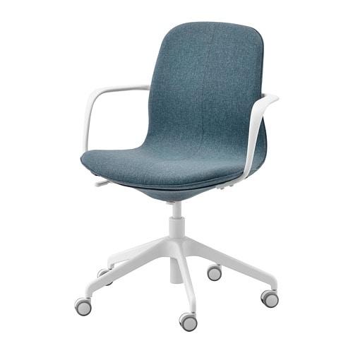 3c6612b5e21a LÅNGFJÄLL Kancelárska stolička s opierkami - Gunnared modrá