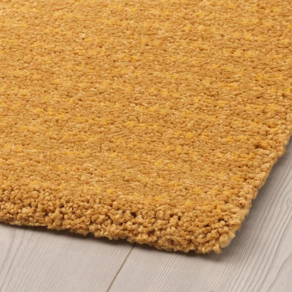 LANGSTED Koberec, nízky vlas, žltá, 60x90 cm