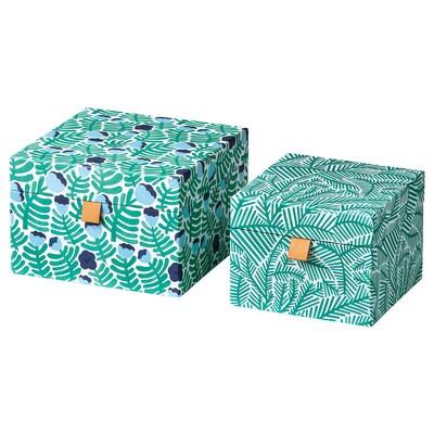 LANKMOJ dekoratívna škatuľka, 2 ks zelená/modrá/kvetinový vzor
