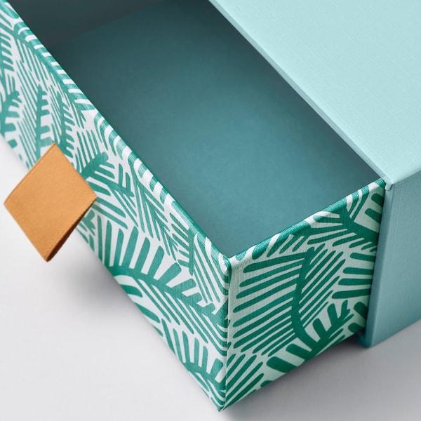 LANKMOJ mini komoda svetlomodrá/vzor listov 12 cm 12 cm 6 cm