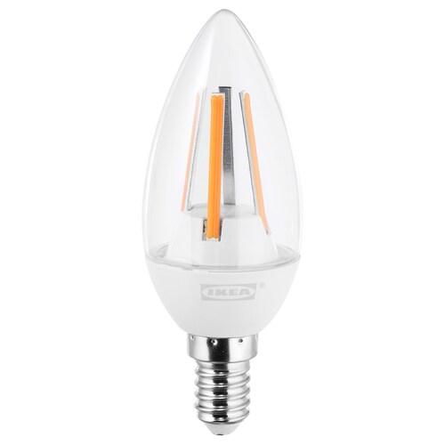LEDARE LED žiarovka E14 400lumen stmievanie v hrejivých farbách/luster priehľadná 400 lm