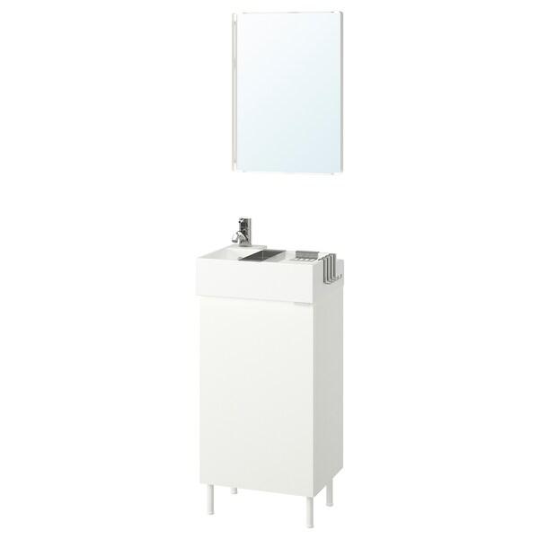 LILLÅNGEN / LILLÅNGEN nábytok do kúpeľne, súprava 5ks biela/Batérie PILKÅN 41 cm 40 cm 41 cm 89 cm