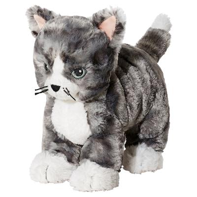 LILLEPLUTT Plyšová hračka, mačka sivá/biela