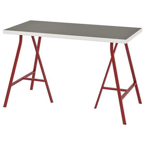LINNMON / LERBERG stôl svetlosivá/biela/červená 120 cm 60 cm 74 cm 50 kg