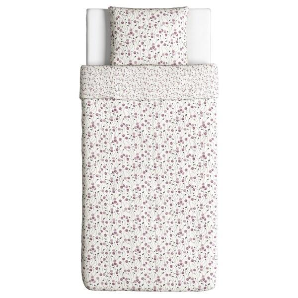 MAJVIVA Posteľné obliečky, biela/fialová, 150x200/50x60 cm