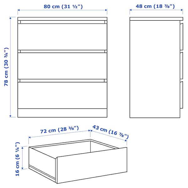 MALM komoda s 3 zásuvkami bielo morená dub dyha 80 cm 48 cm 78 cm 72 cm 43 cm