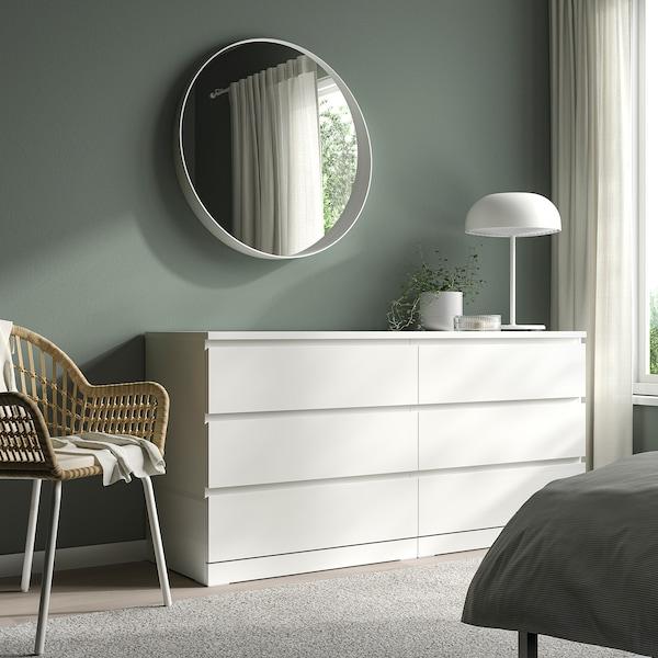 MALM Komoda, 6 zásuviek, biela, 160x78 cm