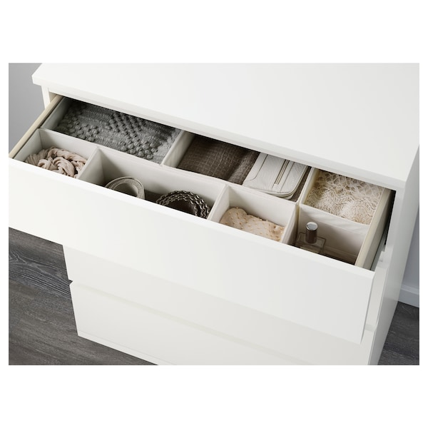 MALM Komoda so 4 zásuvkami, biela, 80x100 cm