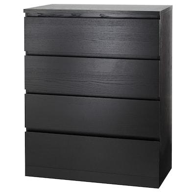 MALM Komoda so 4 zásuvkami, čierno-hnedá, 80x100 cm