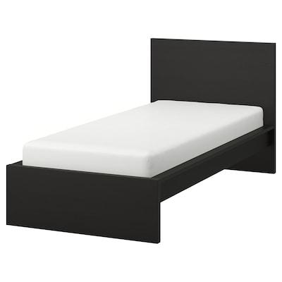 MALM Rám postele, vysoký, čierno-hnedá, 90x200 cm