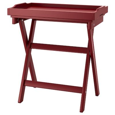 MARYD Stolík s podnosom, tmavočervená, 58x38x58 cm