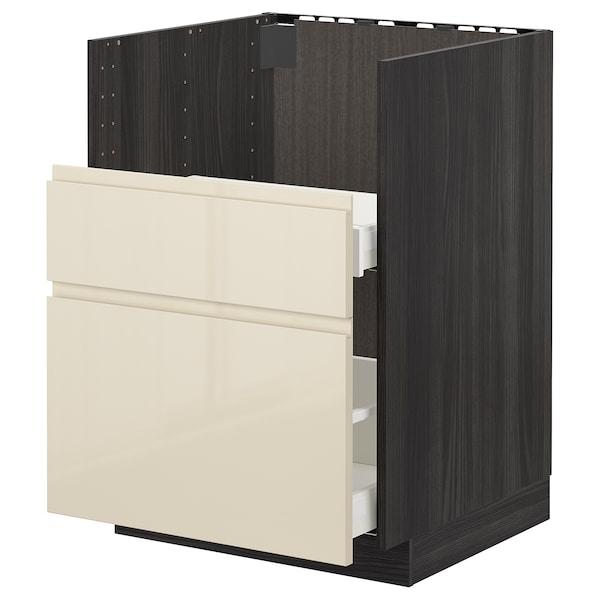 METOD skr s umýv BREDSJÖN/2če/2zás čierna/Voxtorp lesklá svetlobéžová 60.0 cm 61.6 cm 88.0 cm 60.0 cm 80.0 cm