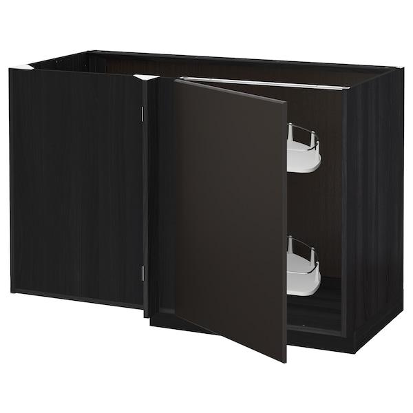 METOD rohová skrinka s výsuvnou časťou čierna/Kungsbacka antracit 127.5 cm 67.5 cm 88.0 cm 80.0 cm
