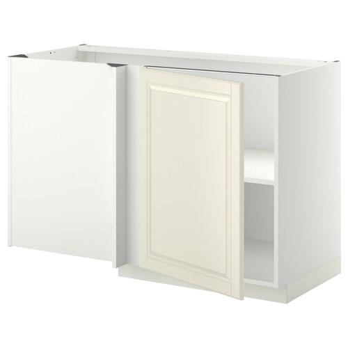 METOD rohová skrinka s policou biela/Bodbyn krémová 127.5 cm 67.5 cm 88.0 cm 80.0 cm