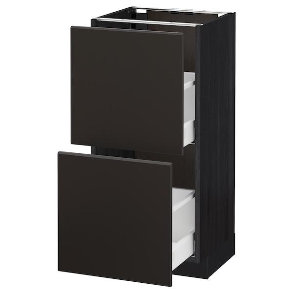METOD / MAXIMERA skrinka + 2 zásuvky čierna/Kungsbacka antracit 40.0 cm 39.2 cm 88.0 cm 37.0 cm 80.0 cm