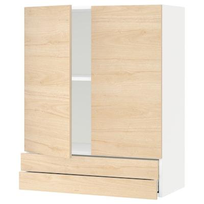 METOD / MAXIMERA Nás. skrin s 2 dv/2 zás, biela/Askersund vzor svetl jaseňa, 80x100 cm