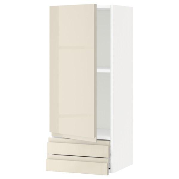 METOD / MAXIMERA Nás skrinka s dvierkami/2zás, biela/Voxtorp lesklá svetlobéžová, 40x100 cm