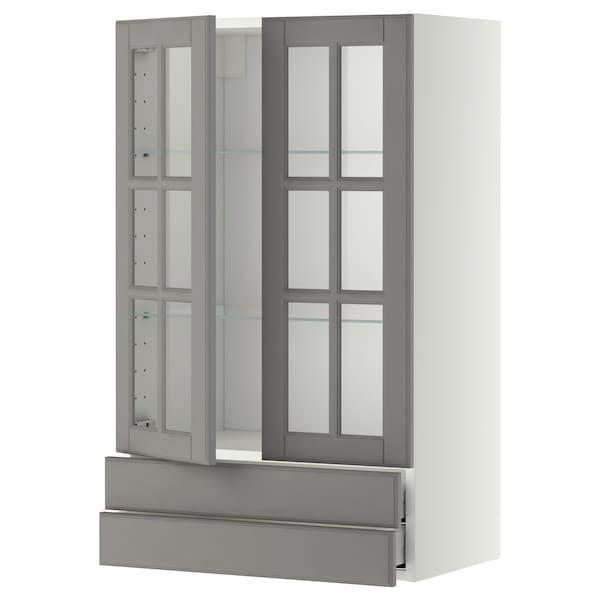 METOD / MAXIMERA Nást skr s 2 skl dvierkami/2 zásuv, biela/Bodbyn sivá, 60x100 cm