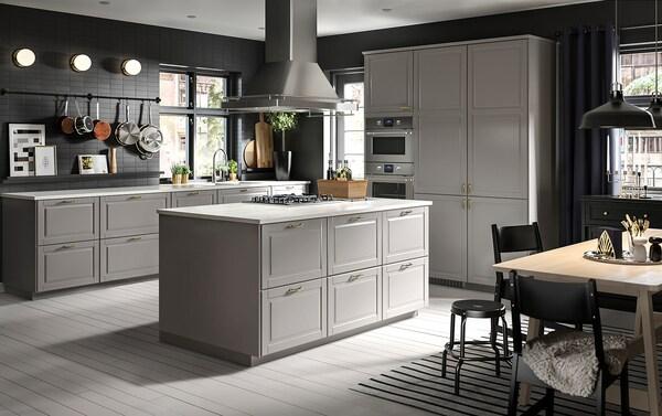 METOD / MAXIMERA Skrinka + 3 zásuvky, biela/Bodbyn sivá, 60x60 cm