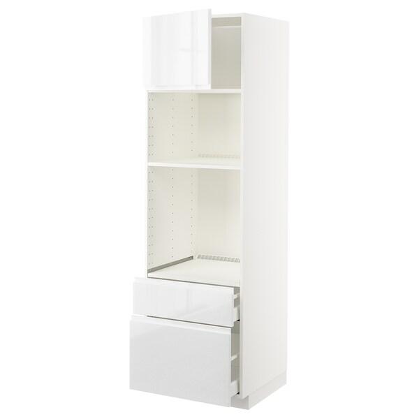 METOD / MAXIMERA Skrinka rúra/mikro s dv/2 zás, biela/Voxtorp lesk/biela, 60x60x200 cm