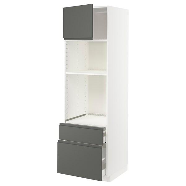 METOD / MAXIMERA Skrinka rúra/mikro s dv/2 zás, biela/Voxtorp tmavosivá, 60x60x200 cm