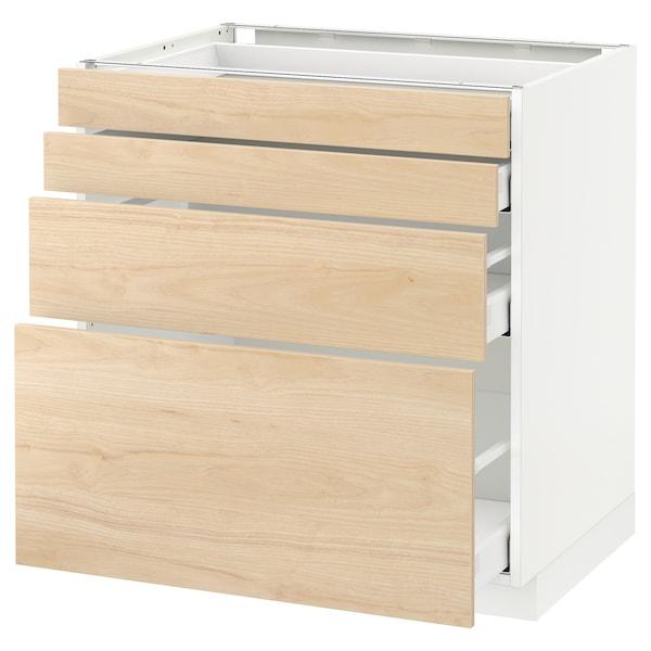 METOD / MAXIMERA Spod skr 4 čelá/4 zásuvky, biela/Askersund vzor svetl jaseňa, 80x60 cm