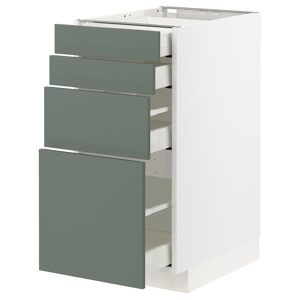 METOD / MAXIMERA Spod skr 4 čelá/4 zásuvky, biela/Bodarp sivozelená, 40x60 cm