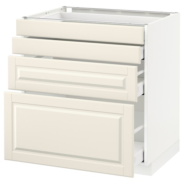 METOD / MAXIMERA Spod skr 4 čelá/4 zásuvky, biela/Bodbyn krémová, 80x60 cm