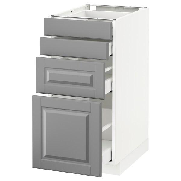 METOD / MAXIMERA Spod skr 4 čelá/4 zásuvky, biela/Bodbyn sivá, 40x60 cm