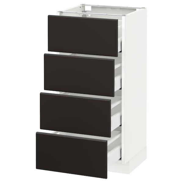 METOD / MAXIMERA Spod skr 4 čelá/4 zásuvky, biela/Kungsbacka antracit, 40x37 cm