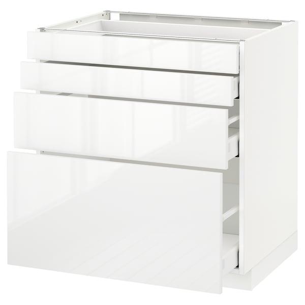 METOD / MAXIMERA Spod skr 4 čelá/4 zásuvky, biela/Ringhult biela, 80x60 cm