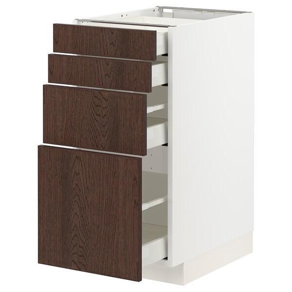 METOD / MAXIMERA Spod skr 4 čelá/4 zásuvky, biela/Sinarp hnedá, 40x60 cm
