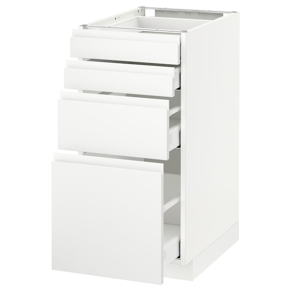 METOD / MAXIMERA Spod skr 4 čelá/4 zásuvky, biela/Voxtorp matná biela, 40x60 cm
