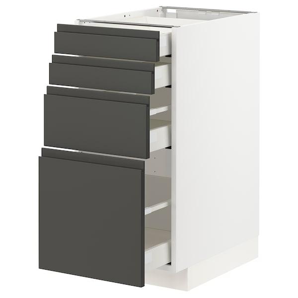 METOD / MAXIMERA Spod skr 4 čelá/4 zásuvky, biela/Voxtorp tmavosivá, 40x60 cm